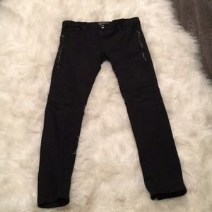 NWOT men's black jeans with zippers. Moto style